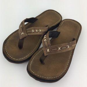Clarks Flip Flops Leather with Stitching Sz 6.5